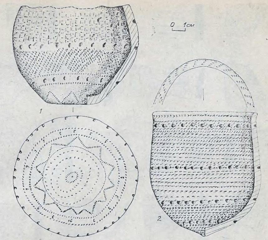 Рис. 4. Сосуды байрыкского типа. 1 - Сопка-3; 2 - Погорелка.