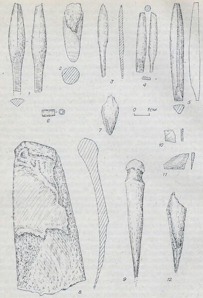 Рис. 8. Орудия из кости и бронзы. Байрыкский тип. Памятник Венгерово-3. 10, 11 — бронза; остальное — кость.