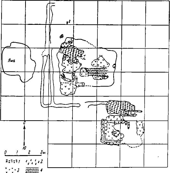 Рис. 4. План раскопа № 7. 1 — глина; 2 — обожженная глина, 3 — уголь; 4 — обгоревшее дерево