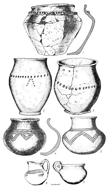 Рис. 96б. Керамика Белозерского этапа Позднесрубной культуры: 1, 2, 3 — горшки, 4, 5 — лощеные кубки, 6,7 — кувшинчики