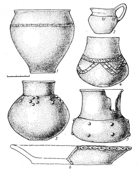 Рис. 96а. Керамика Белозерского этапа Позднесрубной культуры: 1 — горшок, 2 — кувшинчик, 3, 4, 5 — лощеные кубки с цилиндрическим горлом, 6 — тарелка