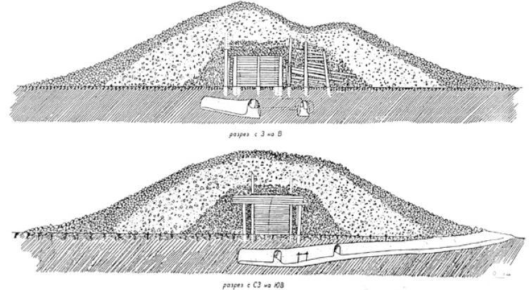 Рис. 4.17. План и разрез большого Бесшатырского кургана (по К.А. Акишеву)