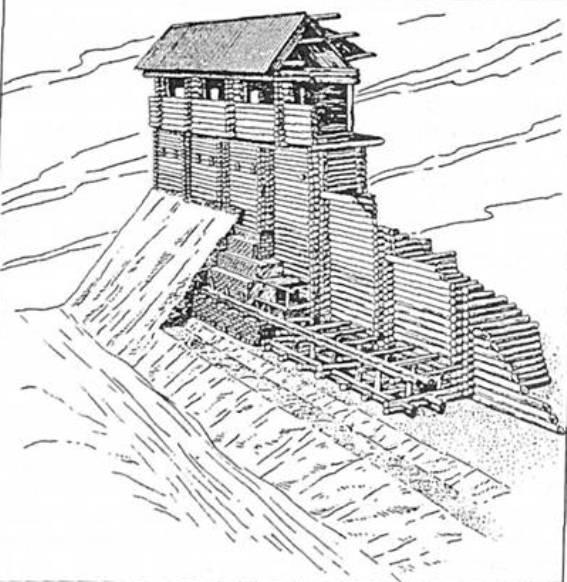 Рис. 9. Оборонна стіна Білгорода Київського (за М. Г. Городцовим та Б. О. Рибаковим)