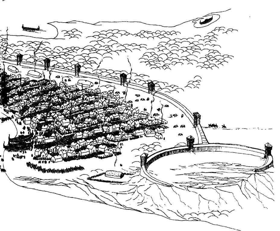 Рис. 57. Город Бирка в X в. Реконструкция Б. Альмгрена.