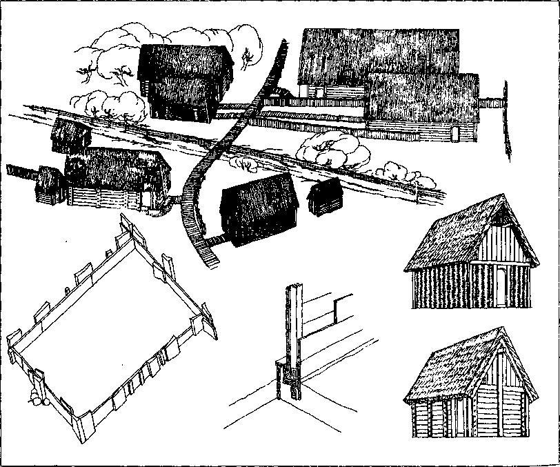 Рис. 58. Реконструкция улицы и домов в Хедебю (но Б. Альмгрену)