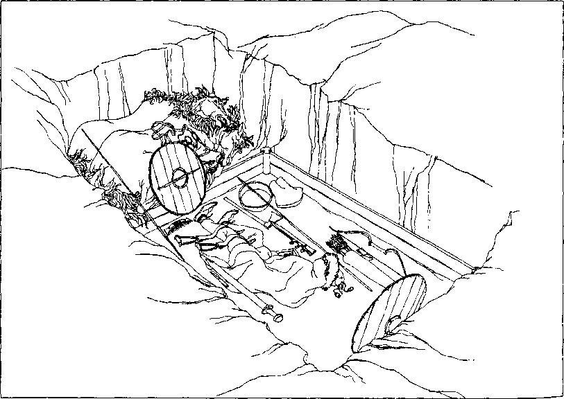 Рис. 60. Погребение воина из Бирки (реконструкция но Б. Алыигрену