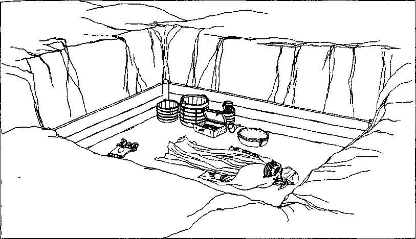 Рис. 61. Женское камерное погребение из Бирки (реконструкция по Б. Альмгрену)