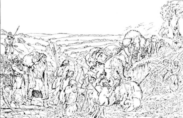 Рис. 15. Полювання на бізонів (реконструкція О. О. Кротової та П. В. Корнієнка за матеріалами стоянки Амвросіївка на Донеччині)