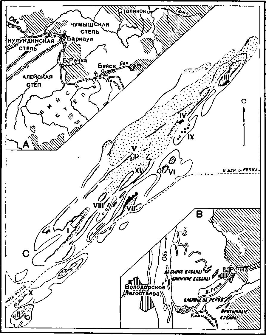 Рис. 44. Карта к раскопкам на Ближних Елбанах