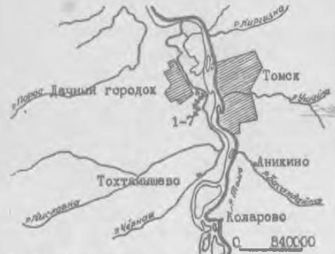 Рис. 1. 1-7 поселения по реке Кисловке.