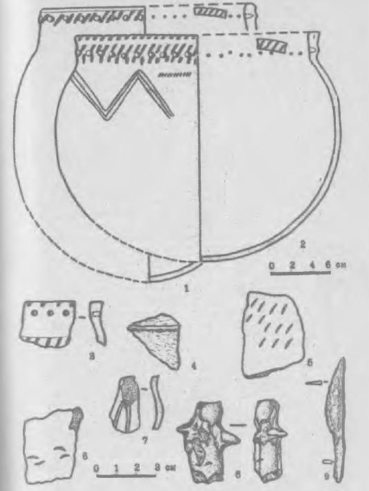 Рис. 2. Керамика и вещи с поселения Кисловка 2. 1-7 - керамика; 8 - глиняная фигурка; 9 - железный нож.