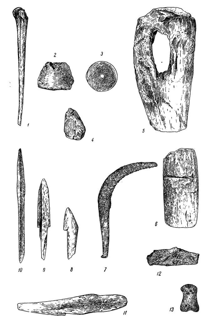Рис. 27. Вещи из городища Большой лог. 1 — проколка; 2, 3 — пряслица (средний слой); 4 — кремневый скребок (из землянки I раскопа); 5 — втулка от мотыги; 6 — мотыга (нижний слой); 7 — железный серп; 8 — заготовка гарпуна; 9, 10 — наконечники стрел (средний слой); 11 — нож для чистки рыбы; 12 — скульптурная головка животного—лошади или лося (нижний слой); 13 — скульптурное изображение барана (средний слой). Номера 1, 5, 6, 8—11 — кость; 2, 3, 12, 13 — глина.