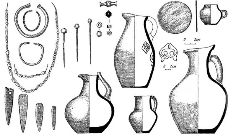 Рис. 4.41 Погребальный инвентарь Борижарского могильника. VI — первая половина VIII вв. н. э.