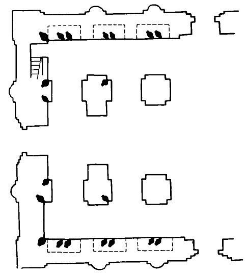 Рис. 7. Схема размещения голосников над аркосолиями