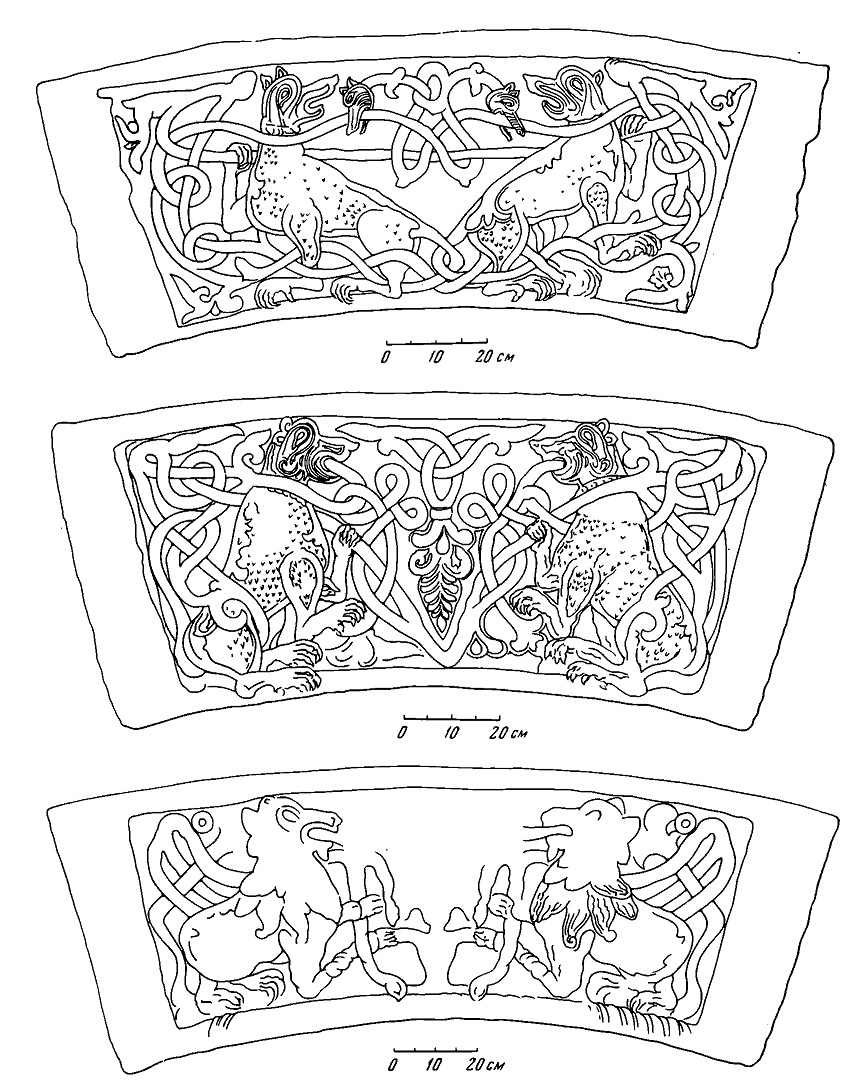 Рис. 13. Развертки двух капителей и схема капители со львом
