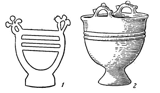Рис. 8. Котлы сибирского типа. 1 — рисунок на Большой Боярской писанице; 2 — керамический котел из Большого Тесинского кургана (Раскопки И. Р. Аспелина)
