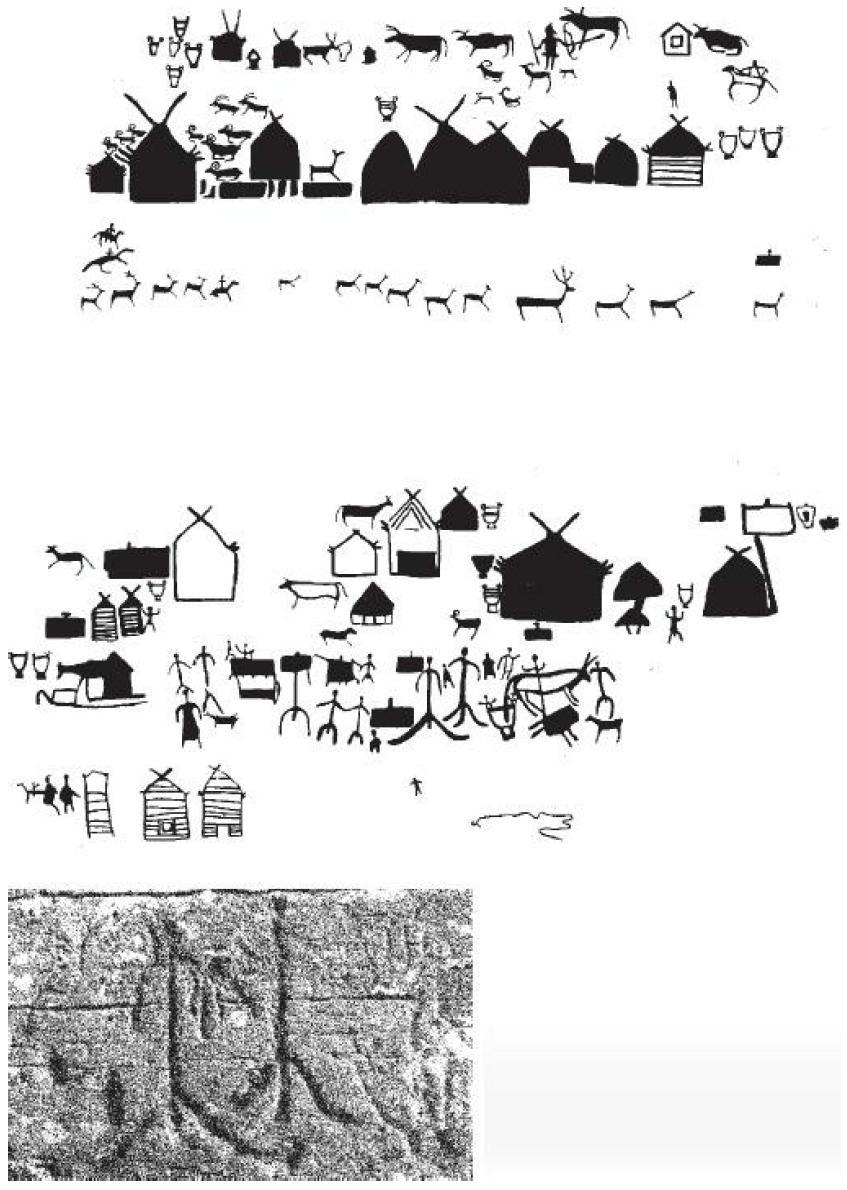 Рис. 46. Прорисовка Большой Боярской писаницы II—I вв. до и. э. в бассейне среднего Енисея и фотография одного из изображений.