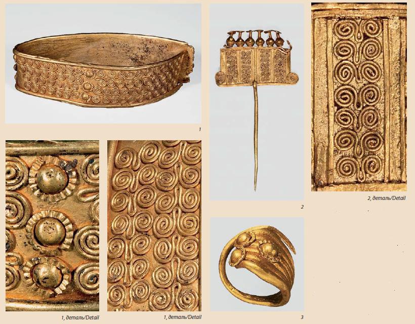 Ил. 3. Сходные элементы декора в украшениях из кладов F,Ju О: 1 - браслет из клада F (общий вид и детали); 2 - булавка из клада О (общий вид и деталь); 3 - височное кольцо из клада J (FMHH)
