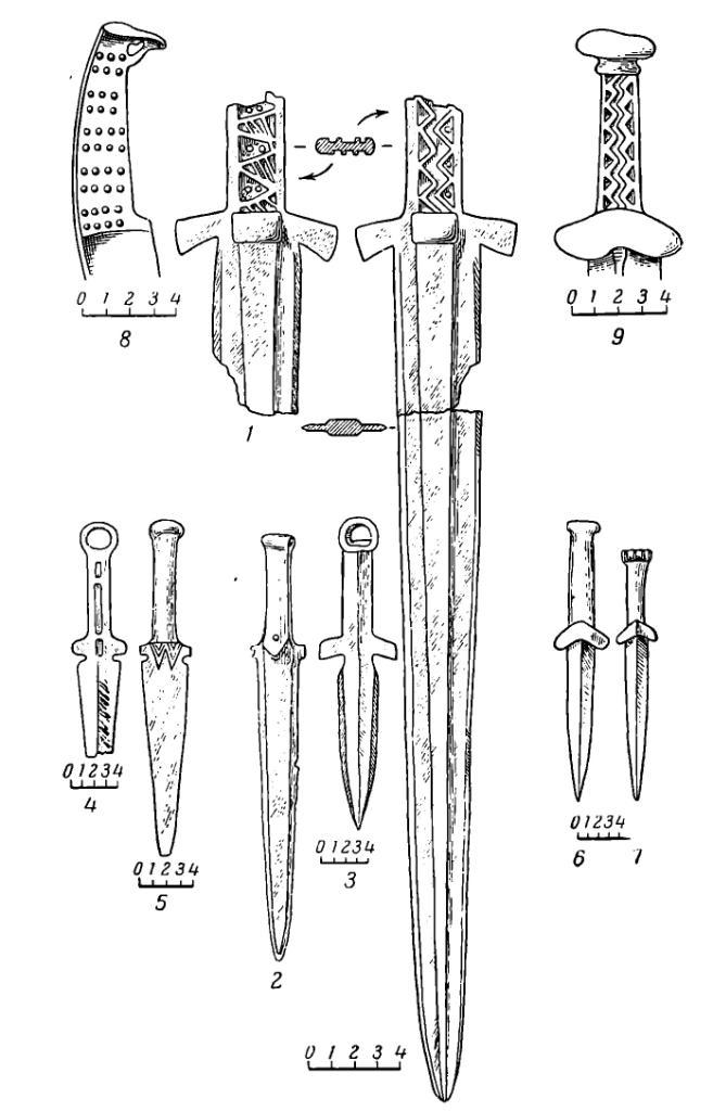 Рис. 57. Бронзовый меч, кинжалы и нож из Минусинской котловины: 1 — меч; 2-5, 8 — карасукские кинжалы и нож; 6, 7, 9 — татарские кинжалы.