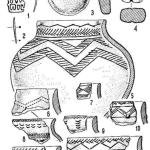 Рис. 1. Вещи и керамика Ново-Шадрино II: 1, 2 - бронза; 3, 4 - глина