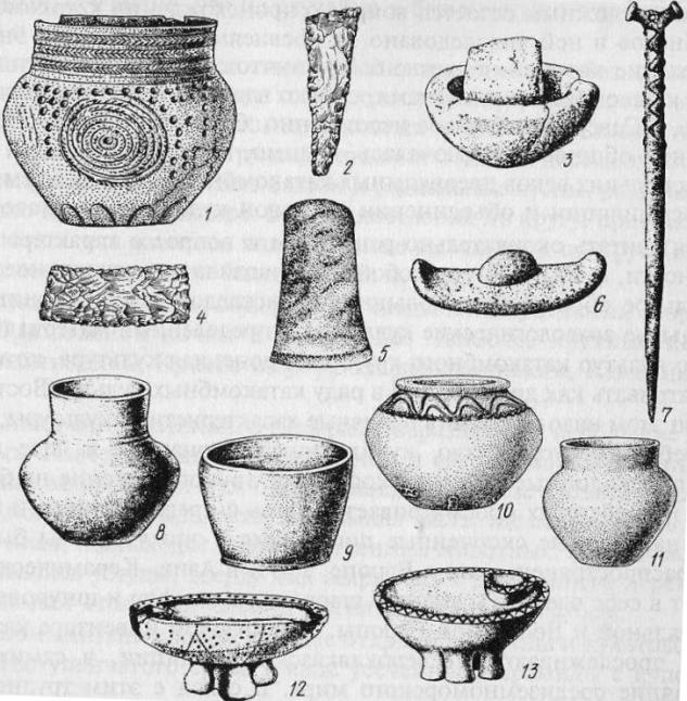 Инвентарь катакомбной культурно-исторической общности: 1, 8-11 - керамические сосуды; 2, 4 - лезвия из кремневых ножевидных пластин; 3 - каменная ступа; 5 - шлифованный топорик; 6 - каменная зернотерка; 7 - костяная заколка; 12,13 - керамические курильницы