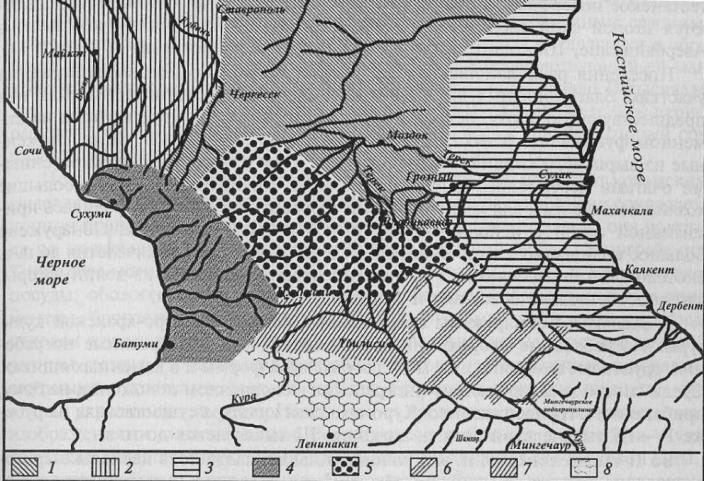 Бронзовый век Северного Кавказа 1 — северокавказская культура; 2— майкопская; 3 — каякентско-хорочаевская; 4— колхидская; 5 — центральнокавказская (кобанская); 6— восточнозакавказская; 7—самтаврская; 8 — триалетская
