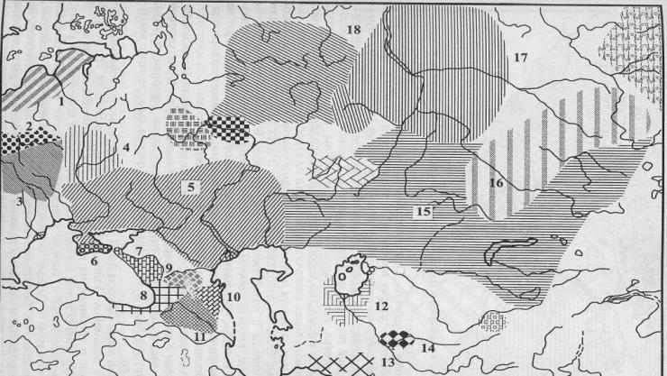 Основные археологические культуры ранней и развитой бронзы на территории Евразии: 1 - прибалтийская; 2 - тшеницкая; 3 - комаровская; 4 - сосница; 5 - катакомбная; 6 - кызыл-кобинская; 7 - прикубанская; 8 - колхидская; 9 - кобанская; 10 - каякентско-хорочаевская; 11 - центральнокавказская; 12 - тазабагъябская; 13 - анау; 14 - заманбабинская; 15 - андроновская; 16 - карасукская и близкие ей культуры; 17 - сузгунская; 18 - сейминско-турбинская
