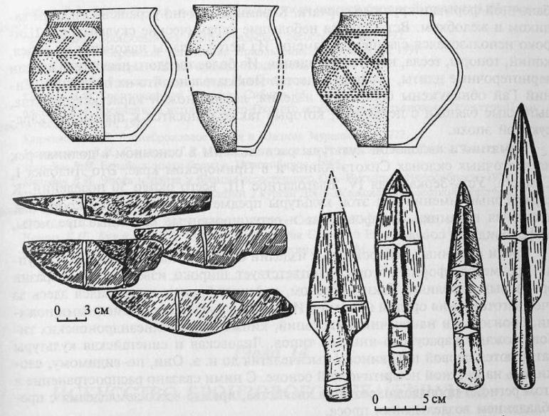 Керамика, каменные шлифованные ножи и наконечники копий, кинжалы эпохи бронзы Дальнего Востока, Приморья (по В.И. Дьякову)