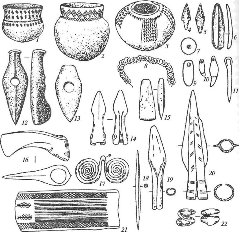 Инвентарь фатьяновских могильников: 1-3 — сосуды; 4, 5 — кремневые наконечники стрел; 6 — кремневый нож; 7, 9 — янтарные привески; 8— ожерелье из костяных бусин; 10— амулеты из клыков кабана; 11 — костяная проколка; 12, 13 — каменные топоры; 14, 19, 20— медные наконечники копий; 15— каменный клиновидный топор; 16— медный втульчатый топор; 17 — медная подвеска; 18 — медное шило; 21 — манжетовидный браслет; 22— медное височное кольцо