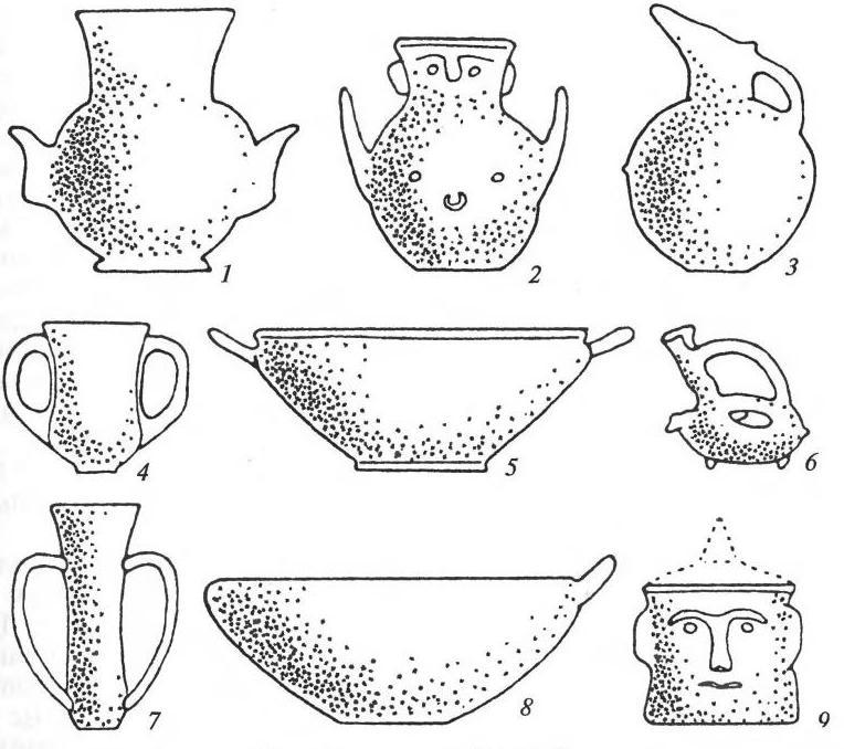 Керамика культуры Троя II-III: 1, 2 — «лицевые урны»; 3 — кувшин; 4, 7 — кубки; 5, 8 — миски; 6 — аскос; 9 — крышка