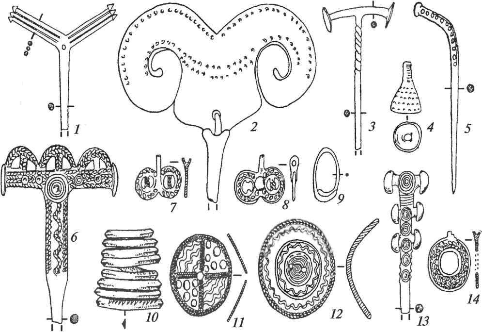 Бронзовые украшения терского очага: 1-3, 5, 6, 13— булавки; 4— подвеска-колокольчик; 7, 8, 14— медальоны; 9— височное кольцо; 10— браслет; 11, 12— бляхи