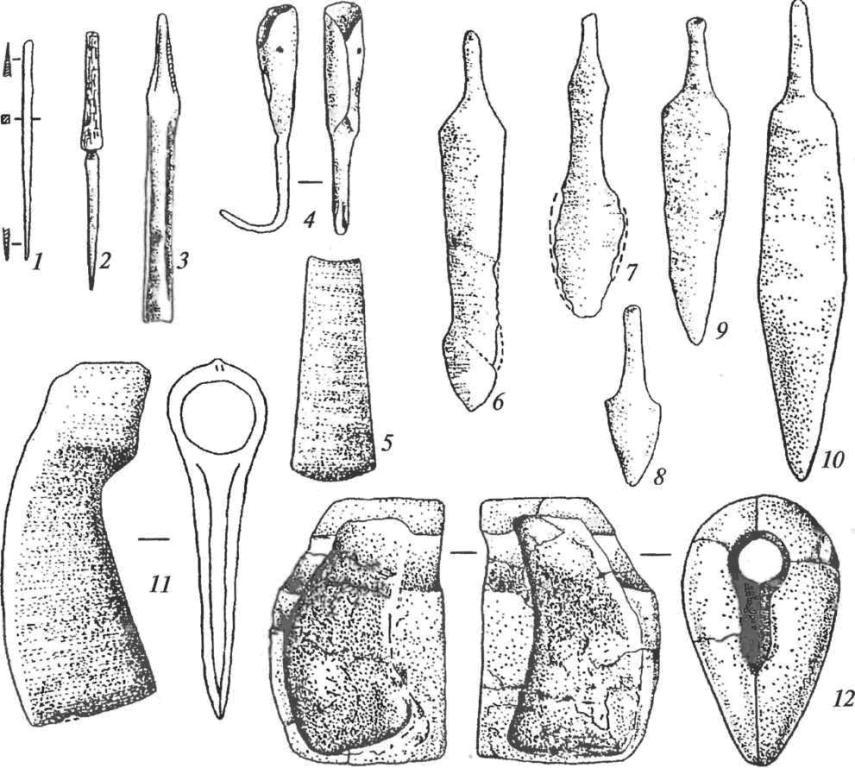 Изделия из погребений донецкой катакомбной культуры: 1,2 — шилья; 3 — долото с упором; 4 — крюк; 5 — тесло; 6-10 — ножи-кинжалы; 11 — втульчатый топор; 12 — форма для отливки топора