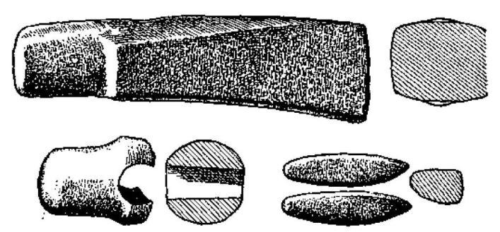 Рис. 41. Топор и боевые топоры из Айос Мамаса. По Хертли (BSA, XXIX) (3/5).