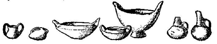 Рис. 40. Типы раннемакедонской керамики. По Хертли (BSA, XXVIII).