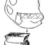 Рис. 117. 1 — сосуд из свайной постройки в Поладе (1/4); 2 — неолитический горшок с квадратным горлышком из Арене Кандиде (1/6).