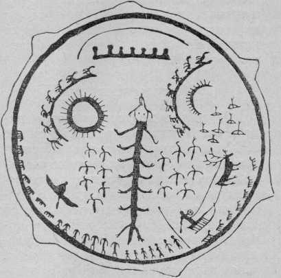 Рис. 2. Рисунок селькупского бубна, сделанный Ф. Пеших. По С. В. Иванову.