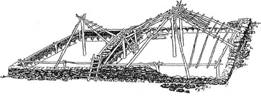 Рис. 3.22. Поселение Бугулы II. Общий вид жилищ. Реконструкция (по А.Х. Маргулану)