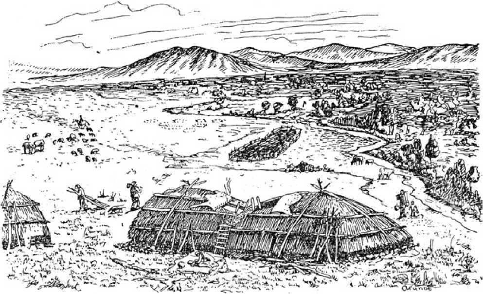 Рис. 3.21. Поселение Бугулы II. Вид жилищ № 1 и 2. Реконструкция (по А.Х. Маргулану)