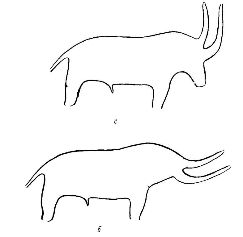 """Рис. 8. а - изображение в """"мамонтовом гроте""""; б - проекция головы быка в наклонном положении"""