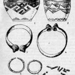 Керамика (1,2, могила № 9), бронзовые (3, 4, 7, могила № 8) и золотые вещи (5, б, могила № 8) из Быковского грунтового могильника