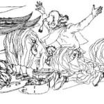 Рис. 54. Жертвоприношение купцов-русов в Булгаре в первой половине X в. по описанию арабского дипломата Ахмеда Ибн-Фадлана.
