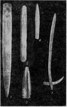 Рис. 27. Буреть. Могильный инвентарь из энеолитического погребения.