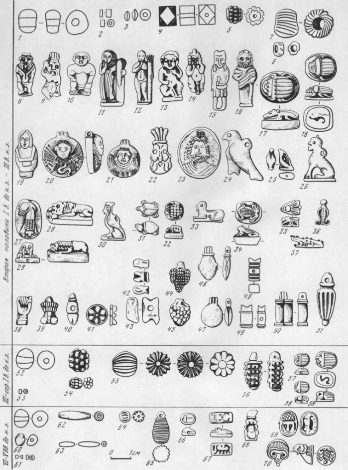Таблица CLVII. Бусы из египетского фаянса Составитель Е. М. Алексеева