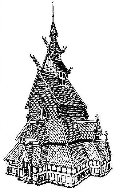 Рис. 127. Церковь, построенная в технике норвежской «ставкирхи»