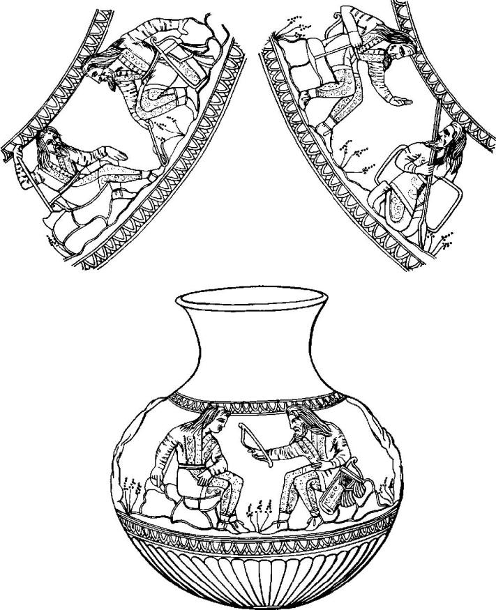 Изображение легенды об Агафирсе, Гелоне и Скифе на сосуде из Частых курганов под Воронежем. IV в. до н.э. Юноша, получающий лук, — Скиф