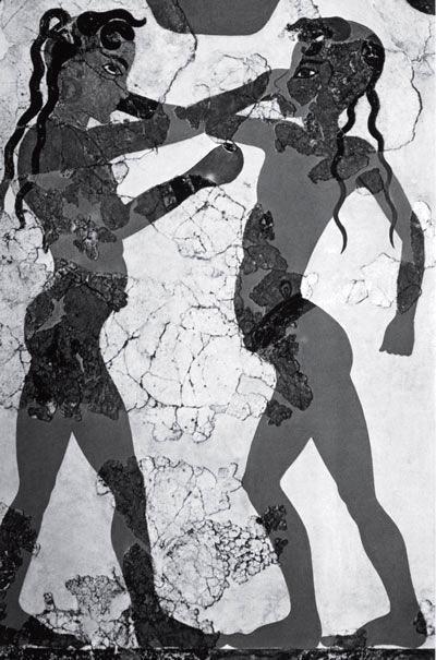 Боксирующие юноши. Рисунок на стене дома в Акротири, остров Санторини, Греция