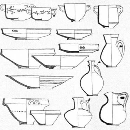Рис. 33. Червонолакова кераміка I—III ст. н. е.