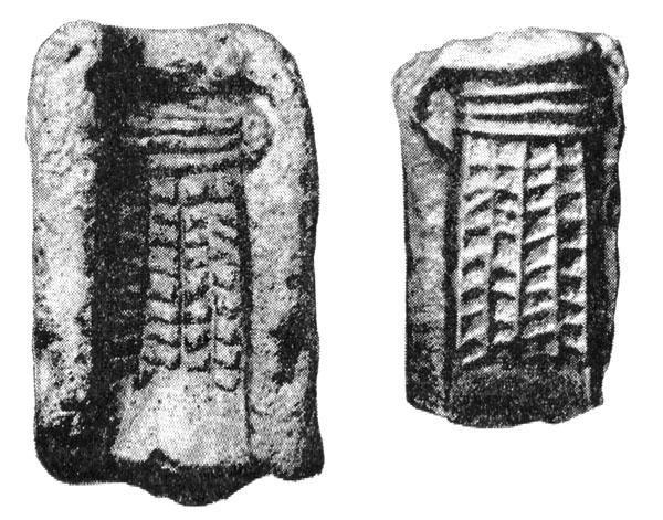 Рис. 117. Глиняная литейная форма Чернолесского кельта и оттиск с неё