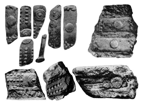 Рис. 124. Обломки литейных форм Чернолесских браслетов и оттиски с них