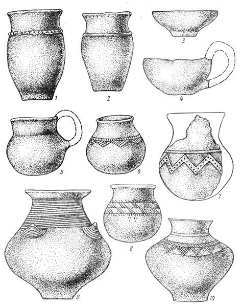 Рис. 129. Керамика II ступени Чернолесской культуры: 1,2— тюльпановидные сосуды, 3 — миска, 4, 5 — черпаки, 6, 7, 8 — кубки, 9, 10 — корчаги